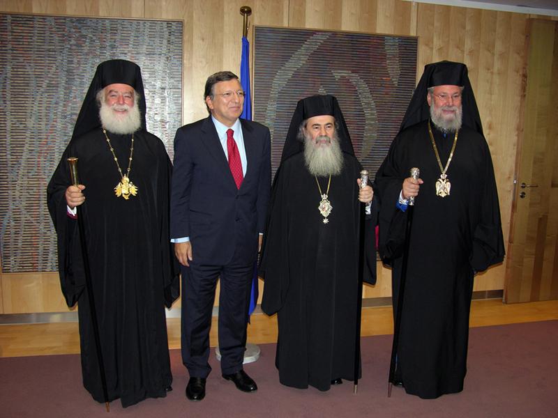 رئيس المفوضية الأوروبية السيد خوسيه مانويل دوراو باروسو ورؤساء الكنائس الارثوذكسية في الشرق الاوسط