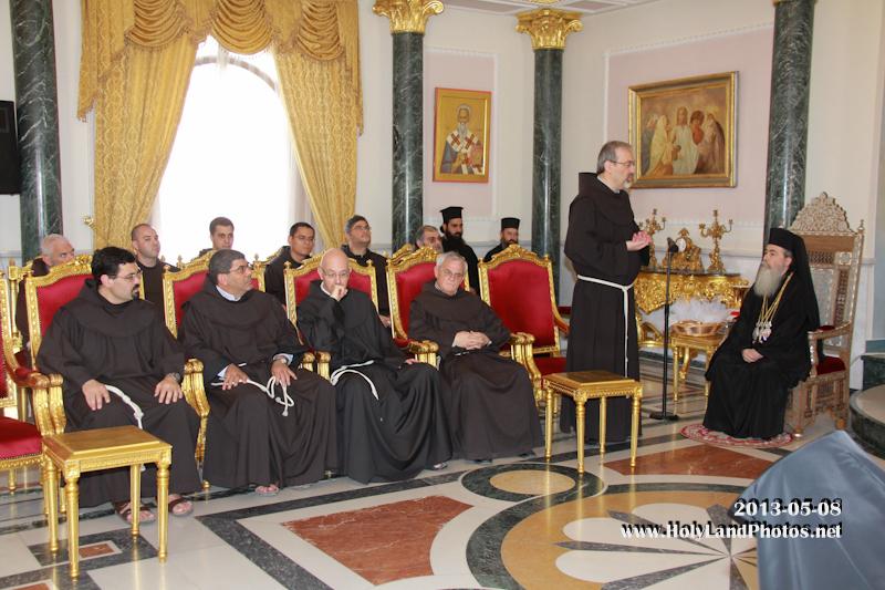 زيارة الطائفة الفرنسيسكانية الفصحية لبطريركية الروم الارثوذكسية